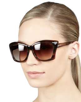 Tom Ford Lana Sunglasses, Shiny Brown