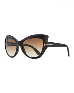Tom Ford Bardot Sharp Cat-Eye Sunglasses, Black