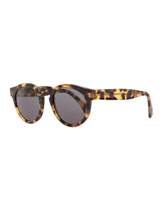 Illesteva Leonard Round Sunglasses, Tortoise, Brown/Black (Tortoise Shell/Gr)