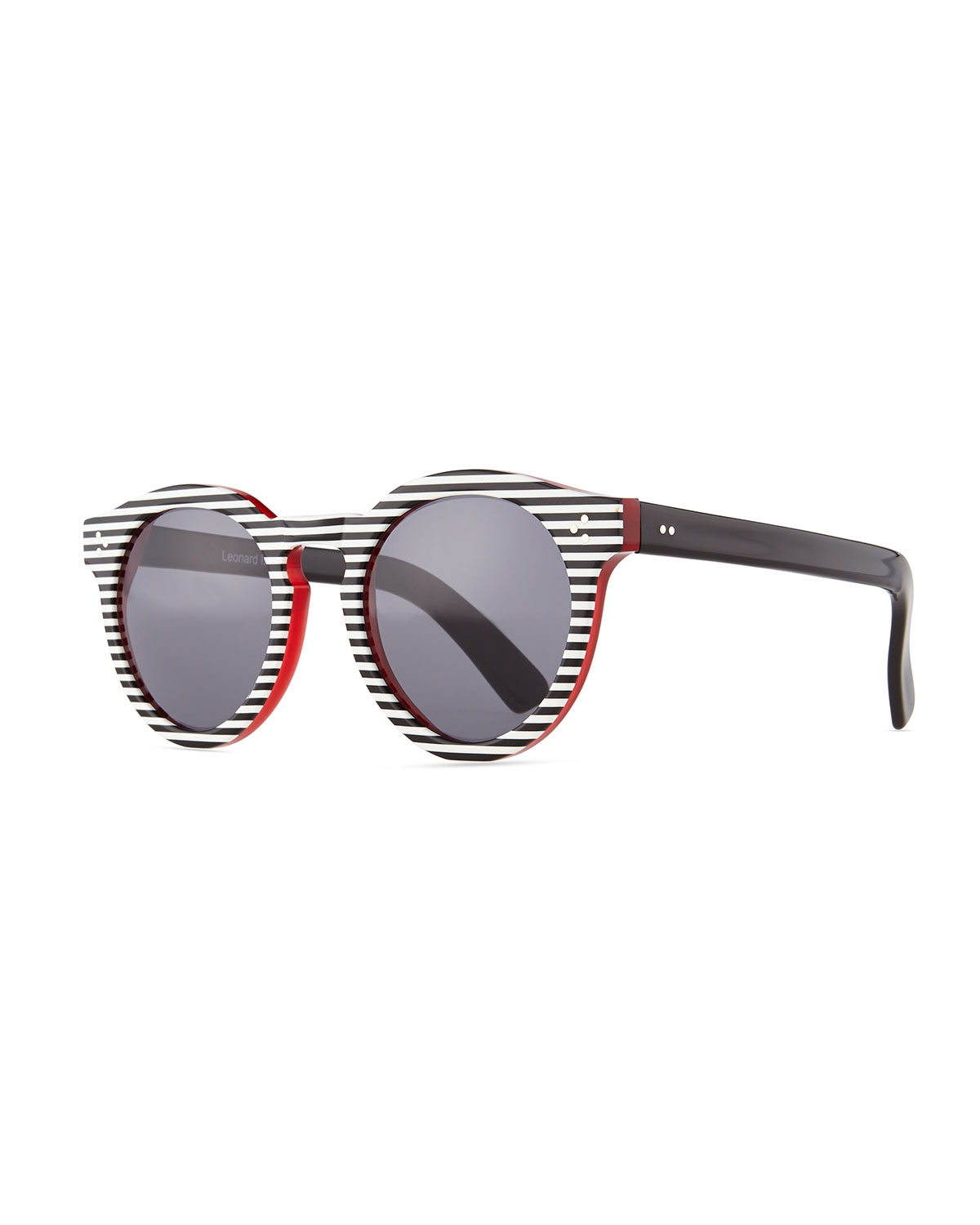 Illesteva Leonard II Striped Sunglasses, Black/White, Black/White Strip