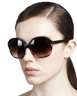 Oliver Peoples Casandra Round Sunglasses, Black/Tortoise