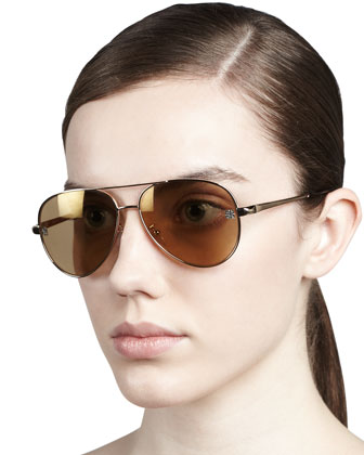 Shiny Aviator Sunglasses, Gold Flash