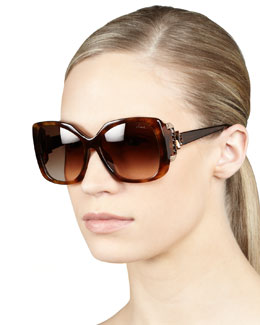 Lanvin Crystal-Temple Square Sunglasses, Havana