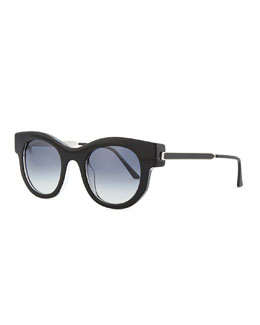 Thierry Lasry Barely Modified Round Sunglasses, Shiny Black