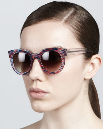 Therapy Large Round Sunglasses, Red/White/Blue