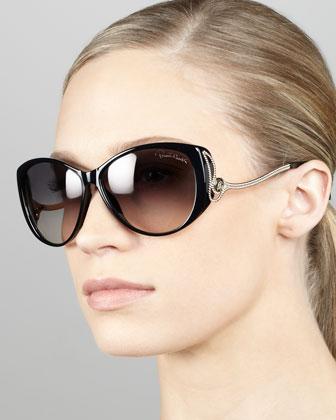 Drop-Temple Cat-Eye Sunglasses, Black