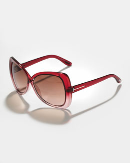 Tom Ford Jade Cross-Bridge Sunglasses, Red/Brown