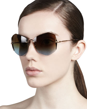 Rimless Irregular Sunglasses, Antique/Blue-Violet