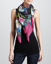 Erdem Large St. Germain Rose Voile Scarf, Black/Pink