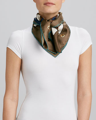 Bamboo Circle Foulard Scarf, Brown/Green