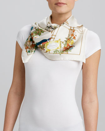 Gold Cage Foulard Scarf, White