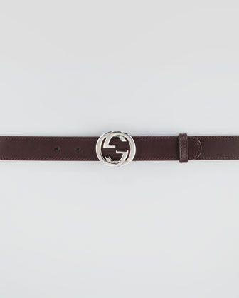 Leather Belt with Interlocking G Buckle, Cocoa