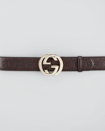 Guccissima Leather Belt with Interlocking G Buckle, Chocolate