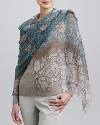 Unique Meknes Cashmere Stole, Blue/Tan