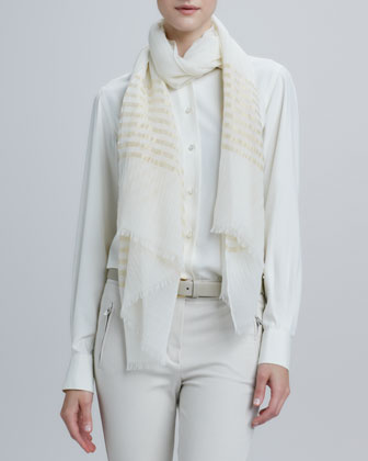Nocturne Striped Shimmer Stole, White/Gold