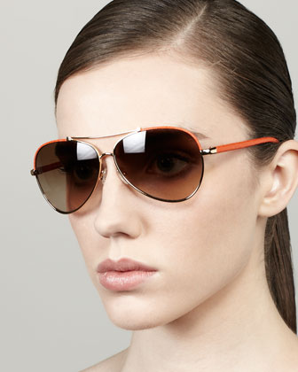 Leather Aviator Sunglasses, Golden/Orange