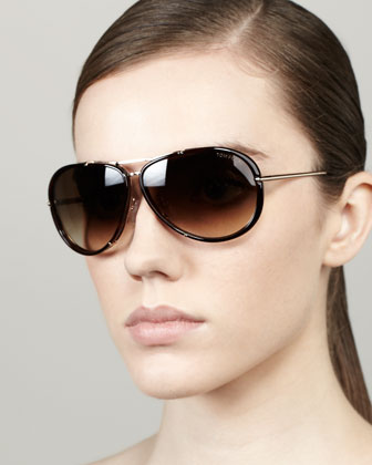 Cyrille Aviator Sunglasses, Dark Havana/Rose Golden