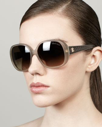 Taj Soft Square Sunglasses, Beige/Python
