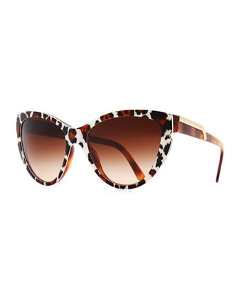 Leopard-Print Cat-Eye Sunglasses, Brown