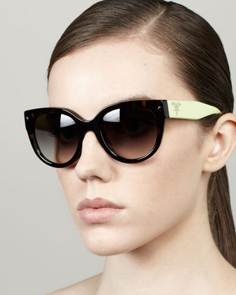 Color-Arm Heritage Logo Sunglasses, Havana/Neon Green