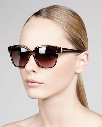 Square Tortoise Sunglasses, Burgundy