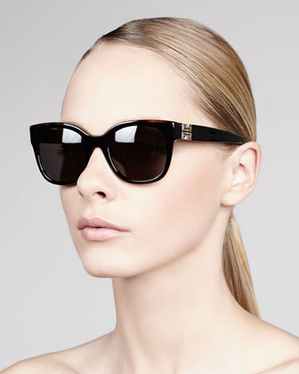 Logo-Temple Square Sunglasses, Black/Smoke