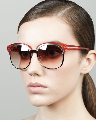 Runway Style Round Sunglasses, Rose