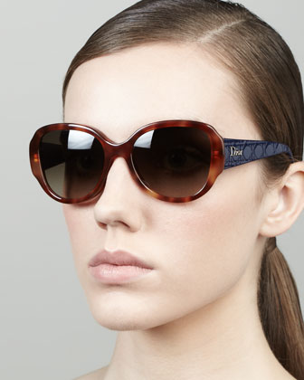 Lady in Dior Quilted-Arm Sunglasses, Havana/Navy
