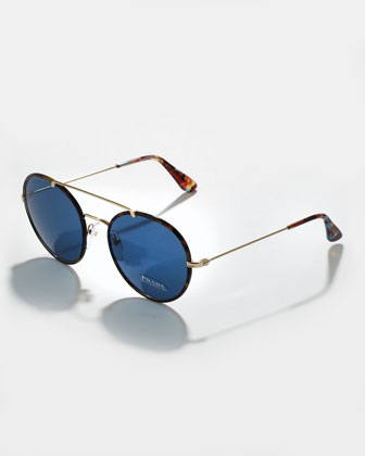 Catwalk Round Aviator Sunglasses, Blue Havana