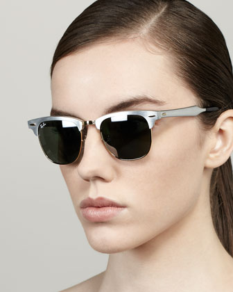 Mirrored Lens Metal Clubmaster Sunglasses, Silver