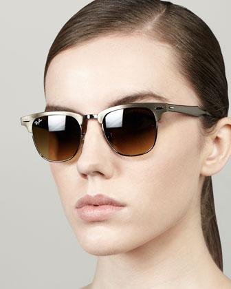 Metal Frame Clubmaster Sunglasses, Bronze