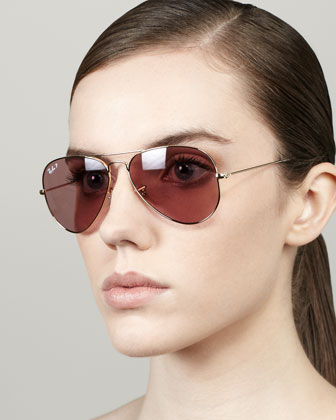 Polarized Aviator Sunglasses, Crystal Pink