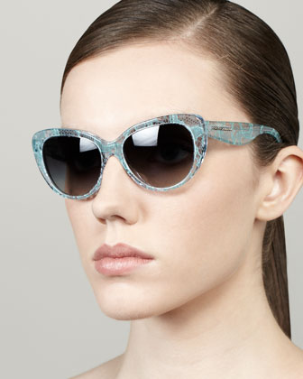 Lace-Print Cat-Eye Sunglasses