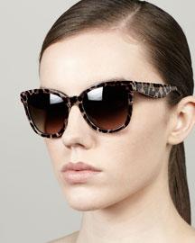 Leopard-Print Square Sunglasses