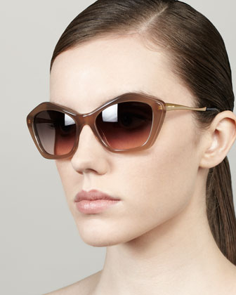 Pentagon Cat-Eye Sunglasses, Opal/Mink