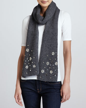 embellished knit scarf, heather gray