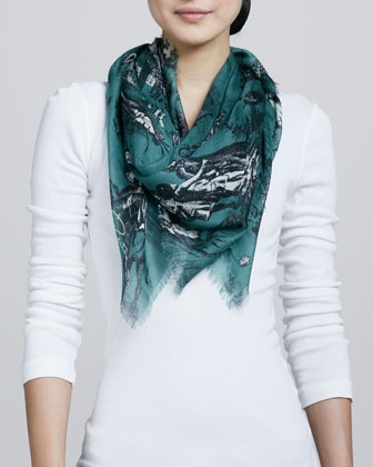 Balloon Toile Fringe Square Scarf