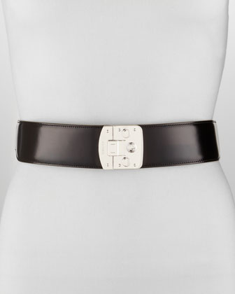 Leather Stretch Belt, Black