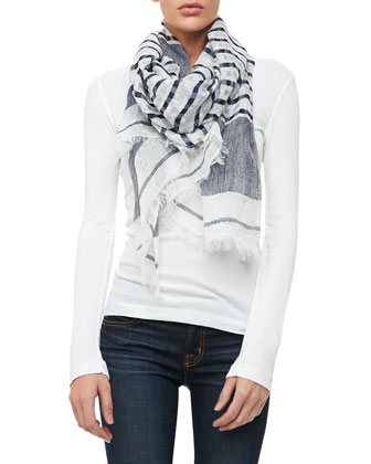 Striped Gauze Scarf, White/Navy