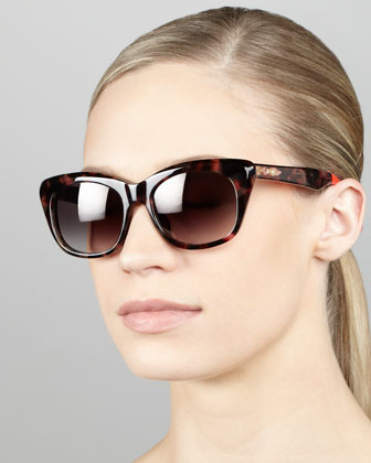 Cat-Eye Sunglasses, Pink Tortoise