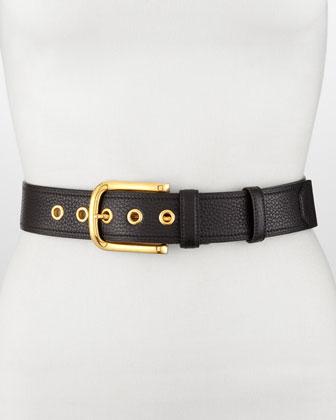 Classic Daino Leather Belt, Black