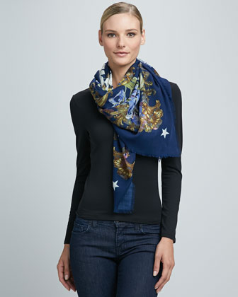 Flower and HDG Fringe Scarf