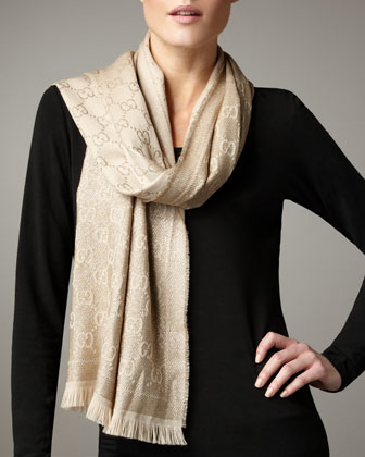 Exclusive Gold Shimmer GG Pattern Scarf, Gold