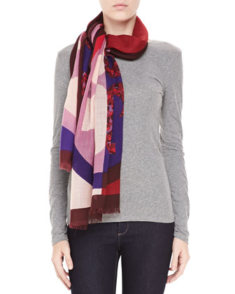 Reva Animal-Print Block Scarf, Purple/Pink