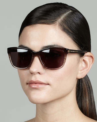Two-Tone Patterned Sunglasses, Brown/Smoke