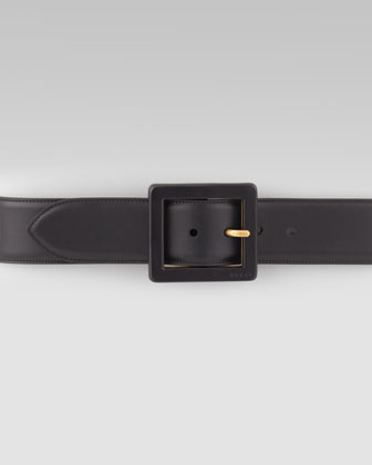 Square-Buckle Leather Belt, Black