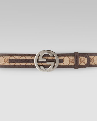G-Adjustable Logo Canvas Belt, Brown