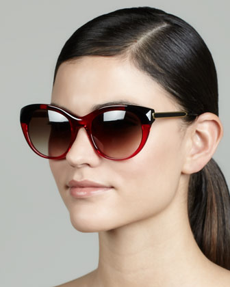 Fingery Two-Tone Modified Cat-Eye Sunglasses, Red/Black