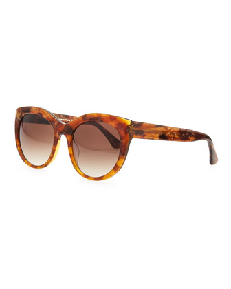 Suggesty Horn-Effect Sunglasses, Brown