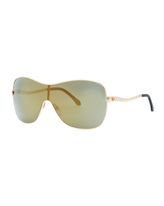 Agena One-Piece Lens Square Sunglasses, Rose Gold